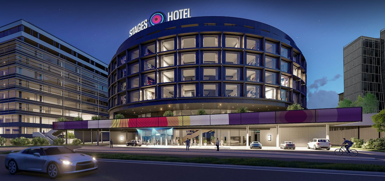 The official name of the newly built hotel right by the O2 arena will be Stages Hotel Prague